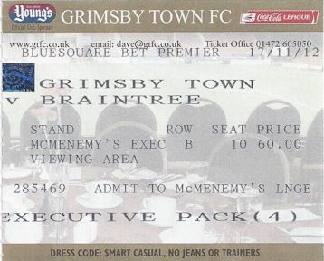 Grimsby Town v Braintree Ticket