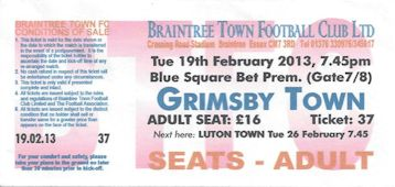 Braintree V Grimsby Town Ticket