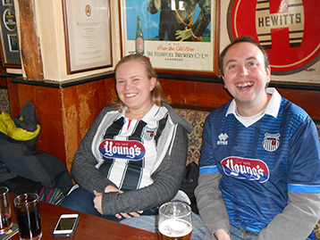 (Chesterfield Mariners Rebecca and Gareth approaching 'regular' status) under the Hewitts sign.