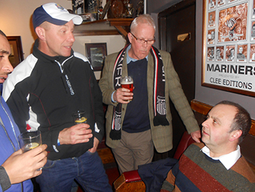Wes, Steve and Brian explain many of the more intricate details of the Histon 			Mariners campaign to Martin Bennett from New Waltham.