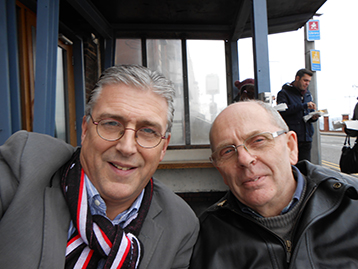 John with the Logistics Director, outside Willys where he also recounted his experiences of Histon F.C.