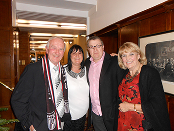 David with daughter Julie, son-in-law Paul and the long-suffering Mrs Yvonne Shearsmith wait to meet the Histon Mariners.