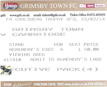 GTFC v Southport Ticket