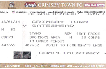 GTFC v Gateshead Ticket