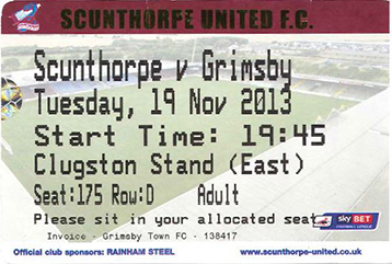 Scunthorpe Utd v GTFC Ticket