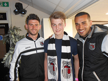 New Histon Mariner youth protégé Ed Bateman is welcomed by Paddy Mc and Paul Bignot.