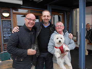 Stuart Bateman (Supplies Director) Dave Boylen and 	Charlie welcome Ian to the fold.  NB the Chairman always in control, casts his experienced eye over proceedings.
