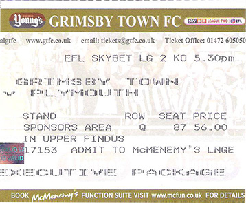 GTFC v Plymouth Argyle Ticket