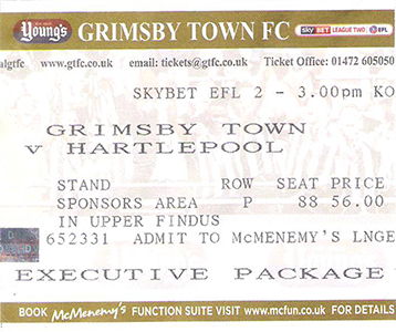 GTFC v Hartlepool Ticket