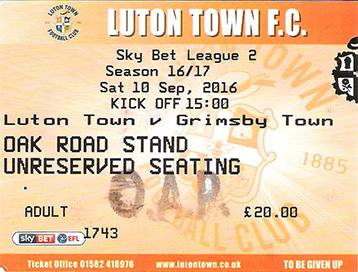 Luton Town v GTFC Ticket