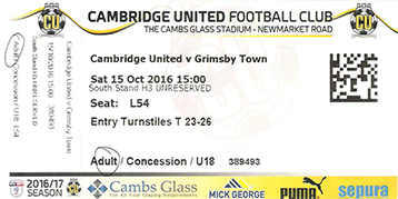 Cambridge Utd v GTFC Ticket