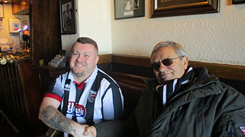 Still incognito The Cllr. was delighted to meet Will and share experiences from Blundel and the Excelsior Stadium.
