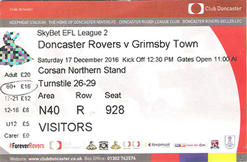Doncaster v GTFC Ticket