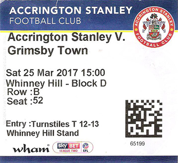 Accrington Stanley v GTFC Ticket