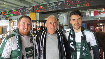 Ed Smith & James Cox immediately seized on the President at Willy's, congratulating him on the Histon Mariners Campaign.