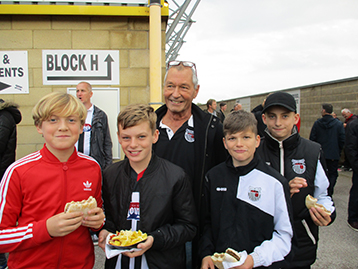 Henry was excited to introduce Jack Lyons, Harley Thompson and Ben Grist to the Chairman of the Histon Mariners.