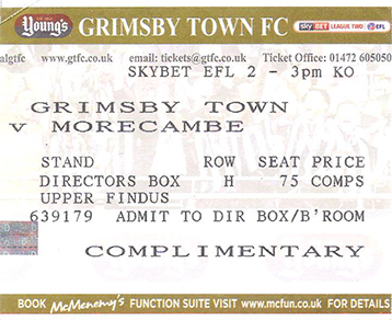 GTFC v Morecombe Ticket