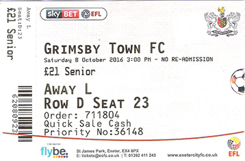 Exeter City v GTFC Ticket